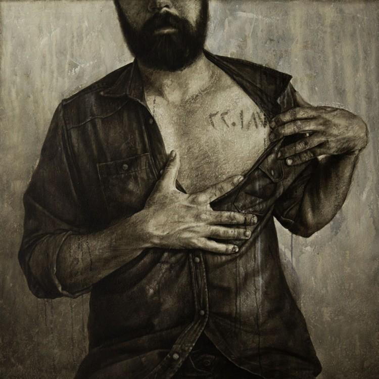 90 . 90 cm , Cicatrix, Self Portrait , oil and acrylic on canvas